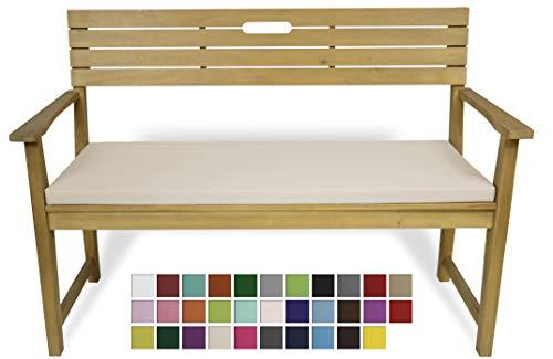 Rollmayer Bankkissen Bankauflage Sitzkissen Bankpolster Auflage für Bänke in Haus und Garten Kollektion Vivid, 1 Stück (Ecru 2, 160x40x4cm)