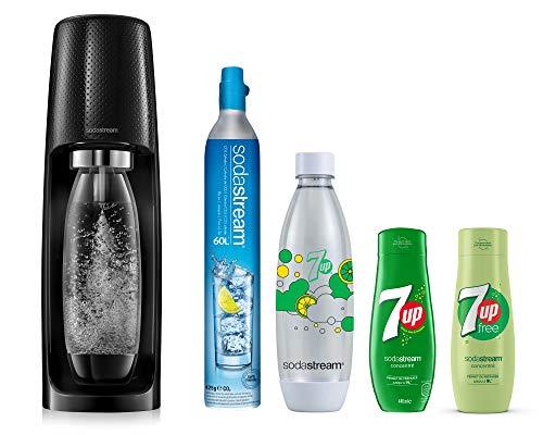 Sodastream Pack Spirit avec Machine à Eau Pétillante et Soda Spirit Noir, 2 Bouteilles FUSE en PET 1L dont 1 Bouteille 7UP, 2 Concentrés 7UP, 1 Cylindre de CO2 60 L [Exclusif Amazon]