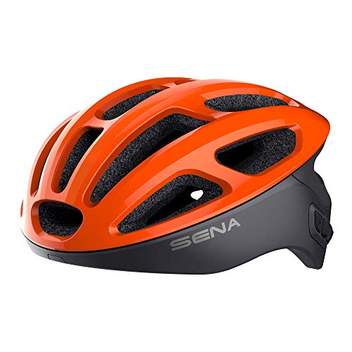 Sena R1 der Smarte Fahrradhelm (Electric Tangerine, Größe M)