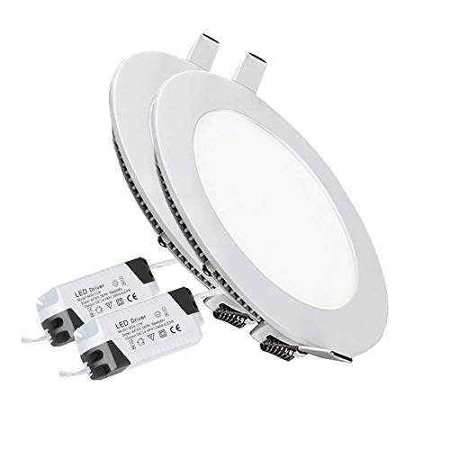2PACK LED Deckenleuchte LED Panellampe Einbaustrahler Einbauleuchten Round 12W 6500K Cool White LED Downlight Ultra schlanke Lampe Scheinwerfer für Küche Bad Gang Lochgröße 15.5CM