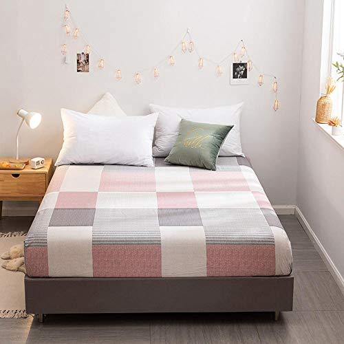 CYYyang Protector de colchón de bambú Funda de colchón y Ajustable Sábana de Cama Individual Estampada de algodón-13_150 * 200cm ✅