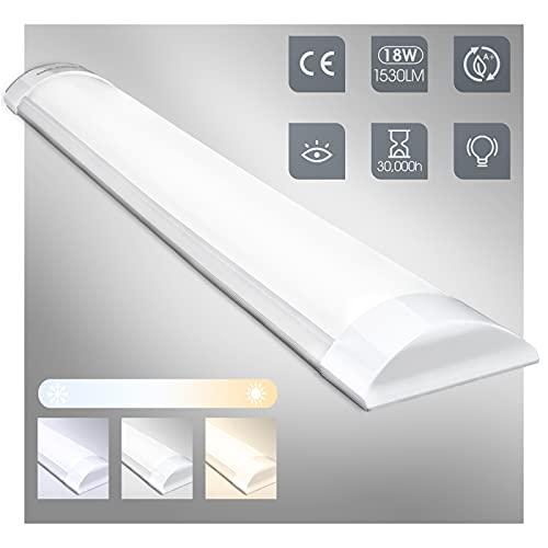 18W Tubos Led Techo Regulable 60cm, Fluorescente Luz Cocina Barra LED 3000K-4000K-6500K,...