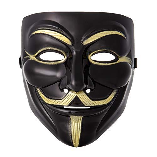 UltraByEasyPeasyStore Ultra Negro Adultos Guy Fawkes Mascara Hacker Anónima Halloween Disfrace Disfraz Calidad con Correa Niños Elegente (1)