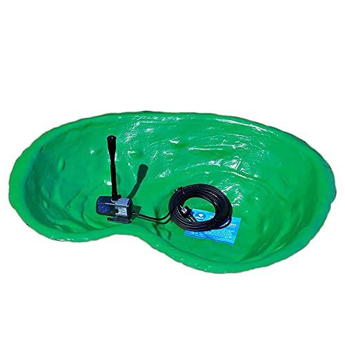Giardini d'Acqua Laghetto da Giardino Completo Kit MOD.Caldonazzo 110 x 78 + Pompa Ricircolo Syncra 1.5 Stagno Artificiale 120 Lt Pompa Inclusa Vasca Pesci Piante Tartarughe Pollice Verde