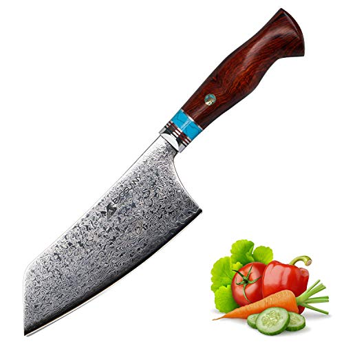 MSY BIGSUNNY Nakiri Knife - 67 Layers Damascus Steel Cleaver - 6.3 Inch Blade - Stain & Corrosion Resistant Handmade Vegetable Knives
