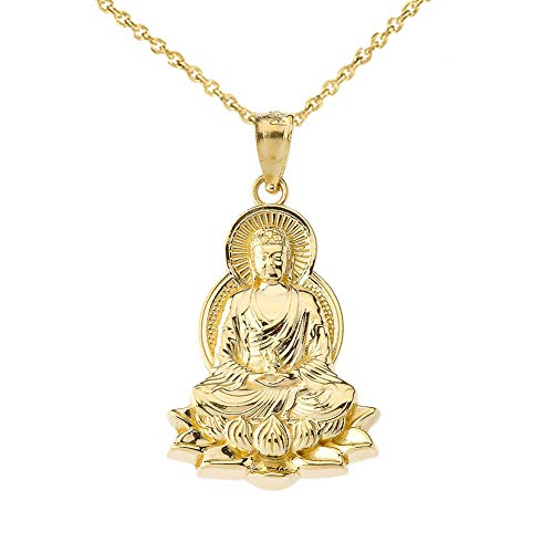 Fine 14k Yellow Gold Buddha on a Lotus Flower Pendant Necklace, 20'