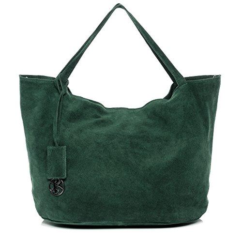 BACCINI Handtasche mit Langen Henkeln echt Wildleder Selma groß Henkeltasche Schultertasche Ledertasche Damen grün