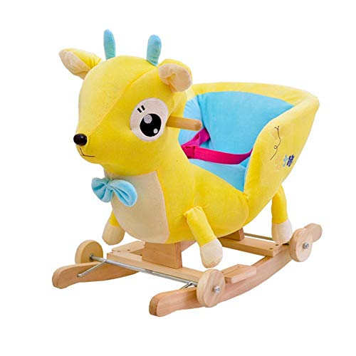 LALAWO Children's leisure chair Rocking Horse Children's Wooden Horse Baby Music Solid Wood Dual-use Rocking Chair Baby Educational Toys Gift 60 * 28 * 41cm