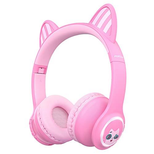 Mpow CH9 PLUS Bluetooth-Kopfhörer, für Kinder, Stereo, kabellos, Bluetooth, verstellbar, faltbar, Lautstärke nur 85 dB, AUX-Anschluss 3,5 mm