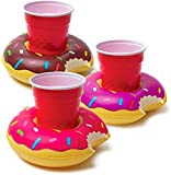 PureJoy Pink Flamingo, Black Swan, White Swan Inflatable Pool Drink Holders 3 Pack | Float Your Hot Tub Swimming Pool Drinks in Style (Donuts)