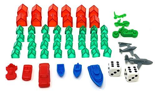 Monopoly Millionär Zubehör Set 58 Teile mit Häusern, Hotels, Würfel, Figuren