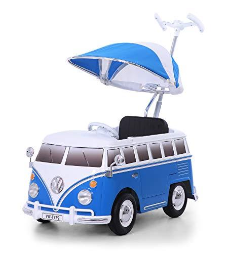 ROLLPLAY Push Car mit ausziehbarer Fußstütze, Für Kinder ab 1 Jahr, Bis max. 20 kg, VW Bus T1 (Typ 2), Blau