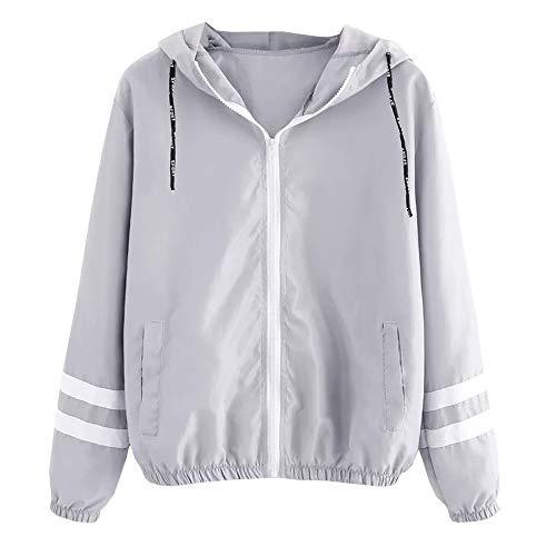 Overdose Damen Casual Kapuzenjacke College Jacke Outwear Dünner Langarm Kontrastfarben Reißverschluss Übergangsjacke Sweatjacke Oberbekleidung Mantel mit Kapuze Grau S