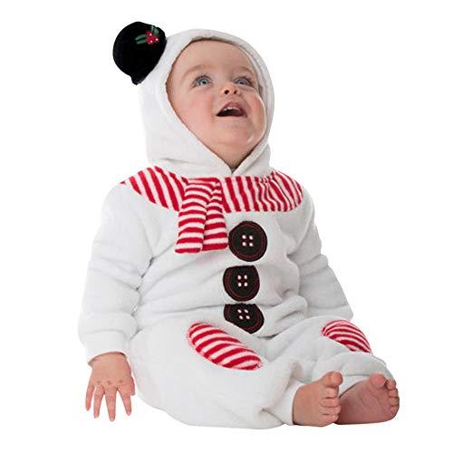 Pelele Navidad Bebe niño niña Conjunto Mameluco de Felpa de Manga Larga recién Nacido bebé Mono con Capucha Mono de muñeco de Nieve Disfraz Navidad 0-24 Meses