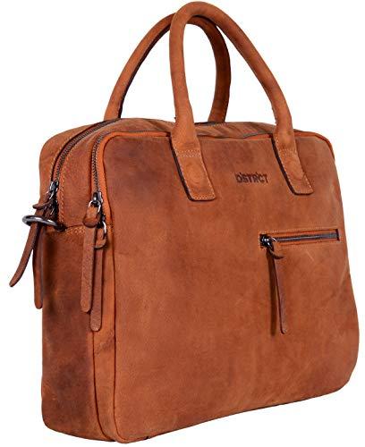 DSTRCT Wall Street lederen zakelijke laptoptas - laptoptas met ritssluiting, cognac (bruin) - 076120.30