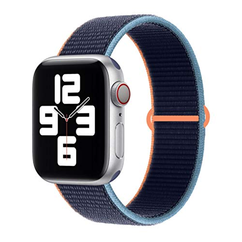 Cinturino in nylon per cinturino Apple Watch 44mm 40mm 42MM 38MM per cinturino IWatch Cinturino cinturino per Apple Watch Series 4 3 5 SE 6-Deep Navy, 42mm-44mm