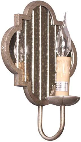 Wandleuchten / Industrielle Wandleuchte Rustikaler Stil Kerze Wandkerzenhalter mit Spiegel-Design dekorative Innenwandleuchte Grauguss Lampenkörper for Schlafzimmer Wohnzimmer Flur Cafes Hotels (Glühl