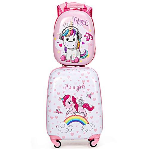 """COSTWAY 2tlg Kinderkoffer + Rucksack, Kindertrolley aus Kunststoff, Kindergepäck, Kinder Kofferset Handgepäck Reisegepäck Hartschalenkoffer für Jungen und Mädchen (Rosa, 12\""""+16\"""")"""