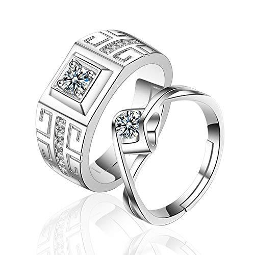Kunze Anillos de Pareja, Anillo de Diamantes Personalizado Chapado en Plata para Hombres y Mujeres, Anillo Ajustable, propuesta, Matrimonio, Regalo para el Amante, con joyero