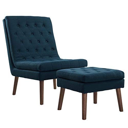 Modway Modify Tufted Modern Lounge Accent Chair and Ottoman Set in Azure