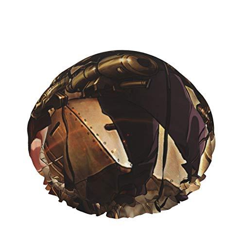 Kabaneri Of The Iron Fortress Gorro de ducha impermeable de doble capa para mujeres Gorros de pelo largo lavables reutilizables