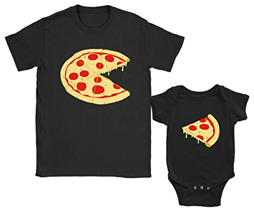 Green Turtle T-Shirts Regalos para Papas Primerizos, Ropa Papa Bebe - Camiseta Padre e Hijo Pizza Negro Small/Bebé Negro 6-9 Mes