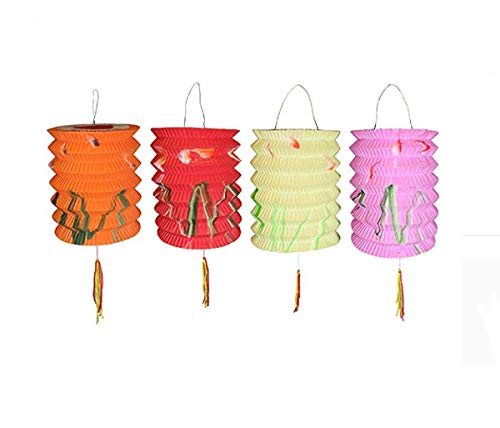 lantern Lot de 12 lampions Nouvel An chinois de 10 cm de diamètre et de couleurs assorties