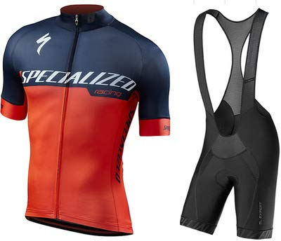WOLFIRE WF Tuta da Ciclismo per Uomini di Squadra. Culotte e Maglia. con Gel Pad 5D. per MTB, Spinning, Road Bike (S Naranja, S)