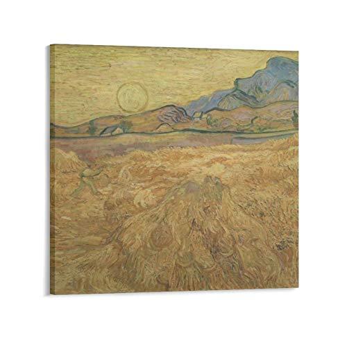 YGTD Cuadro de la pintura de Vincent Van Gogh segador de trigo cuadro impreso en lienzo de pintura de pared carteles decoración moderna para el hogar obras de regalo Idea de regalo 60 x 60 cm