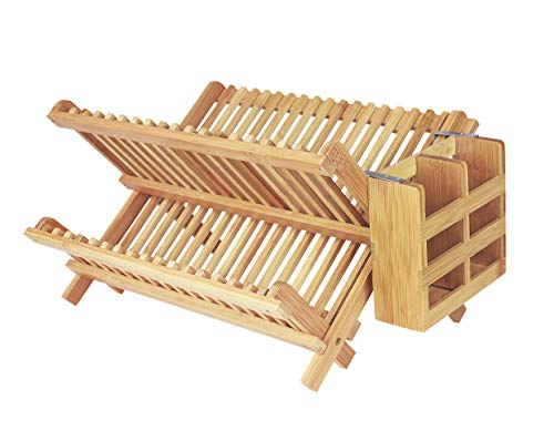 IFELES Bamboo Folding 2-Tier Collapsible Drainer Dish Drying Rack With Utensils Flatware Holder Set (Dish Rack)