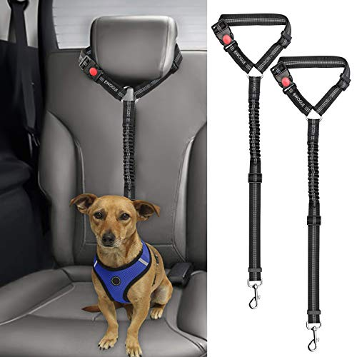 BWOGUE 2 Packs Dog Cat Safety Seat Belt Strap Car Headrest Restraint Adjustable Nylon Fabric Reflective Elastic Bungee Connect Dog Restraints Vehicle Seatbelts Harness