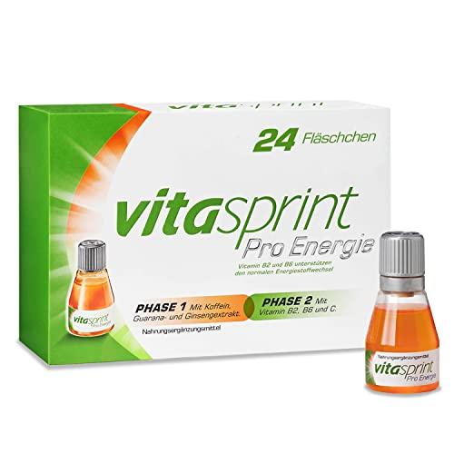 Vitasprint Pro Energie Trinkfläschchen – Natürliches Nahrungsergänzungsmittel für verbesserte Konzentration* – 1 x 24 Trink-Ampullen