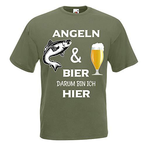 Shirt-Panda Herren T-Shirt · Angeln und Bier darum Bin ich Hier · Sport Angler Fun Unisex Fischer Männer Rundhals Angelshirt Fisch Shirt Brustdruck Motiv · Classic Olive XL
