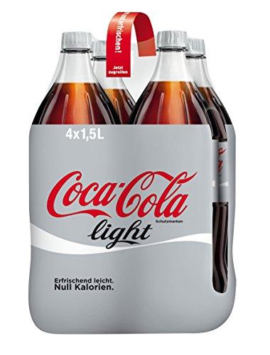 Coca-Cola Light / Erfrischendes Softgetränk in praktischen Flaschen - Coca-Cola Geschmack ohne Kalorien / 4 x 1,5 Liter Einweg Flasche