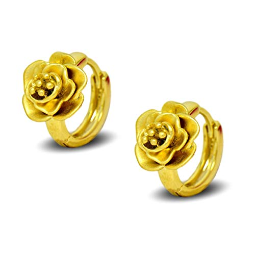 Blue Diamond Club - Childrens Girls 9K Gold Filled Hoop Earrings Flower 9ct Small 12mm