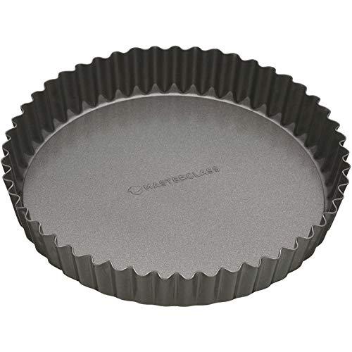 Master Class Antihaft-Tortenbodenform/Quicheform mit gewelltem Rand und losem Boden, Stahl, Grau, 20 x 20 x 3.6 cm