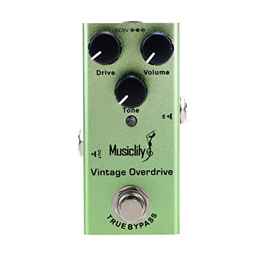 Musiclily Basic Mini Chitarra Elettrica Effetto Pedale DC 9V Adapter Powered True Bypass,Vintage Overdrive