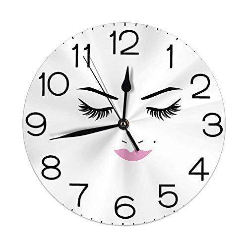 GoodLucke Horloges Murales Rondes Cils, Yeux Fermés Rose Rouge À Lèvres Glamour Maquillage Cosmétiques Beauté Conception Féminine, Fuchsia Noir