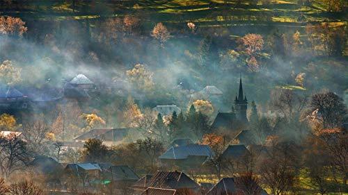 CZYSKY Rompecabezas De 35 Piezas, Brumoso Campo De Transilvania, Rumania, Puzzle Juguete De Madera Decoración De Interiores