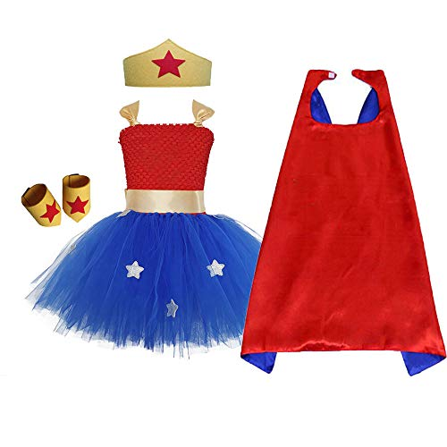 Supergirl Dress Costume for Girls Party Wonder Woman Role Play Hero Tutu Costume