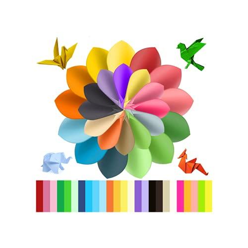 HENGBIRD 100 hojas de papel de origami de doble cara, multicolor, papel para manualidades, para niños y adultos, 15 x 15 cm, 50 colores