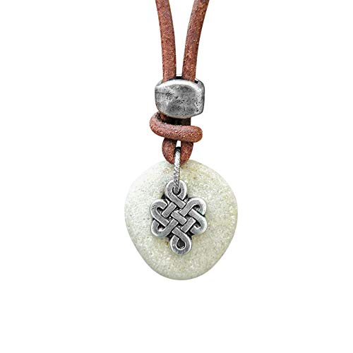Natural Hag Stone Necklace, Mens Leather Necklace With Celtic Knot Charm