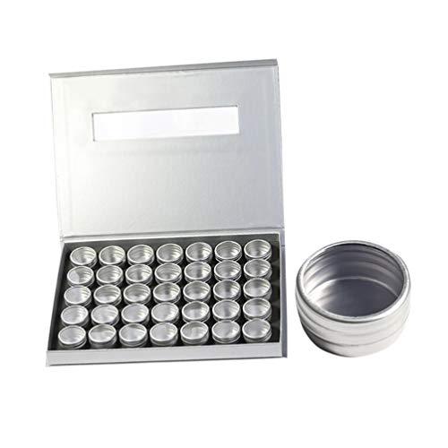 Minkissy 36 stuks diamant schilderboxen bewaarkoffer organizer pot glazen met deksel voor parels sieraden Nail Art glitter poeder (35 mini aluminium doos)