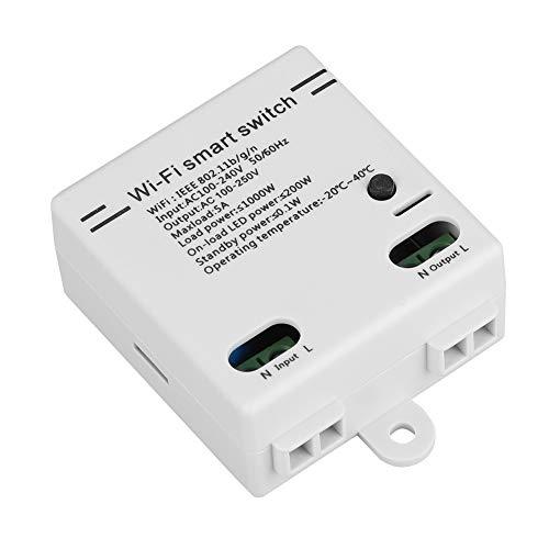 Semiter Módulo de Interruptor WiFi, Interruptor WiFi de casa Inteligente, módulo de Interruptor WiFi WiFi 2.4GHZ B/G/N Controlador de Interruptor WiFi ABS para Android/iOS