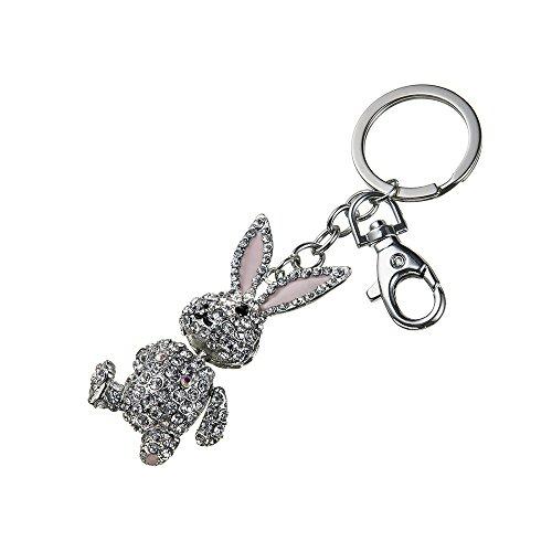 """012# Silbener Schlüsselanhänger Sellori """"Kaninchen"""" Taschenanhänger für Freund, für Frauenvon der Swarovski Kollektion inspiriert"""
