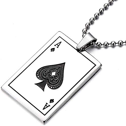 YOUZYHG co.,ltd Collar con Colgante de Acero Inoxidable Poker Ace para Hombre, Plata Pulida con Cadena de Bolas de 30 Pulgadas
