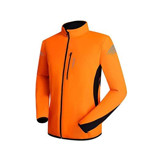 MHSHKS Fietsen Jersey Mannen Herfst En Winter Fleece Lange Mouw Waterdichte Quick Dry Jersey Shirts Mountainbike Sportjack Oranje-XXXL