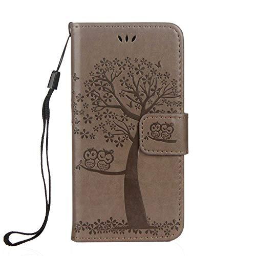 DENDICO - Funda de Piel con Tapa para iPhone 6 Plus/iPhone 6S Plus, con Tarjetero para Apple Galaxy A8 Plus, diseño de árbol y búho