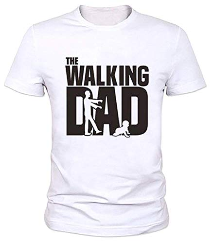 Lovelegis T-Shirt - Maglia Walking Dad - Maglietta - Maniche Corte - Divertente - IDE Regalo - Uomo - Festa del papà - Colore Bianco - Taglia M