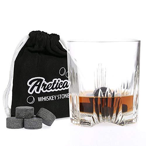 Aretica Whiskey Stenen Stones - Rond - Voor een echte Whiskey on the rocks - Ronde natuurstenen - Herbruikbare ijsblokjes - Ice cubes - Whiskey stones - Ronde ijsklontjes van steen - Set van 9 stuks